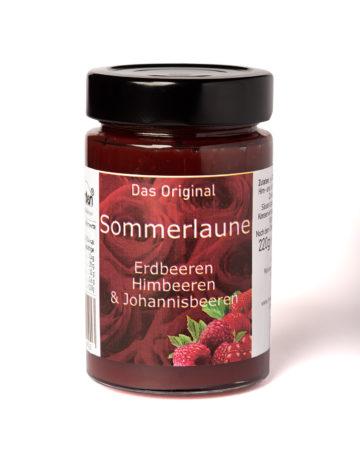 online kaufen Sommerlaune Marmelade mit Erdbeeren, Johannisbeeren und Himbeeren