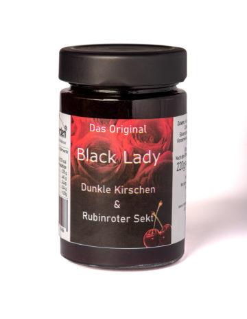 online kaufen Black Lady Marmelade mit schwarzen Kirschen und Bodensee Secco